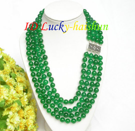 """17"""" 8mm 4row round healthy green jade bead necklace 925 silver clasp j7818"""