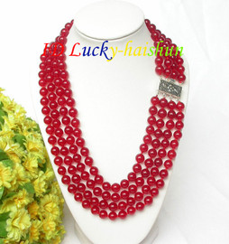 """17"""" 8mm 4row round sanguine red jade bead necklace 925 silver clasp j7817"""