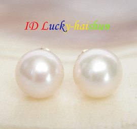 AAA Natural 9mm perfect round white pearls Earring 14K solid gold post j7777