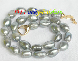 15mm baroque gray freshwater pearls necklace j7593