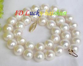 Genuine 12mm round white pearl necklace 14K clasp j7509