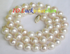 Genuine 10mm round white FW pearl necklace 14K clasp j7504