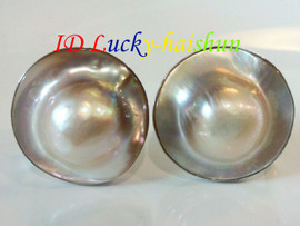 AAA natural rare 23mm white South Sea Mabe Pearl Earrings 925sc Clip-on j7456