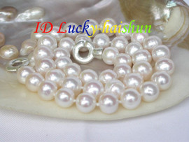 SUper Luster 11mm round white pearl necklace 925sc clasp j7392