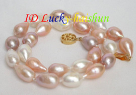 NEW LUSTER 9.5X14mm baroque white pink lavender pearls necklace j7084