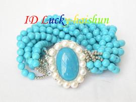 "Genuine 10row 6mm round blue turquoise bracelet 8"" j7020"