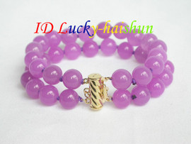 AAA 2row nature healthy 10mm purple jade bracelet j6977