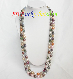 """long 50"""" 10mm round Multicolor FW pearls necklace j6794"""