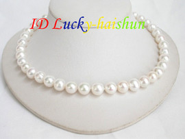 great luster 11mm round white Freshwater pearl necklace j6737