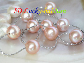 AAA 9mm round pink freshwater pearl necklace 925sc Chain j6694