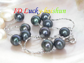 AAA 9mm round black freshwater pearl necklace j6693