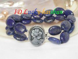"""Genuine 8"""" 2row ellipse olivary lapis lazuli bangle bracelet j6436"""