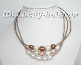 wholesale 3p choker baroque white pink coffee pearl necklace j6391