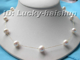 AAA 10mm 14K solid Gold Chain white pearl necklace j6062
