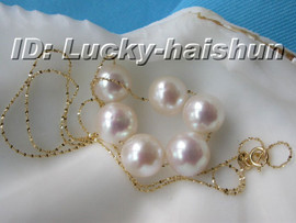 AAA+ 10mm 14K Yellow Gold Chain round white pearl necklace j6055
