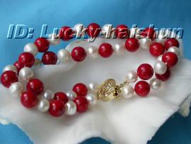 Genuine 2row 8mm round white coral bracelet j6049