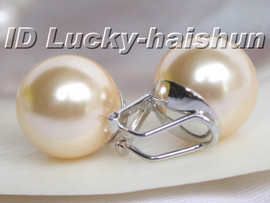 Authentic 14mm champagne sea shell pearls earrings clip 925sc j5806
