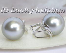 Authentic Gray sea shell pearl earrings clip 925sc 14mm j5791