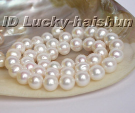 Genuine 11mm round white freshwater pearl necklace 14K clasp j5630