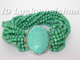 AAA 15Stds natural round turquoise Bracelet turquoise clasp j5277