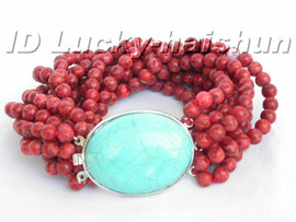 Genuine 100% natural 10row red sponge coral Bracelet turquoise clasp j5204