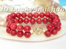 "genuine 100% natural 8"" 12mm 2row red sponge coral Bracelet j5196"