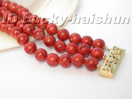 """genuine 100% 8"""" natural 3row red sponge coral Bracelet 14K j5195"""