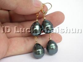baroque Tahitian black south sea shell pearls Earrings 14K j4752