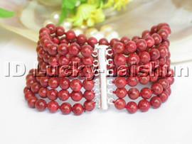 genuine natural 6row red sponge coral Bracelet 925sc j4667
