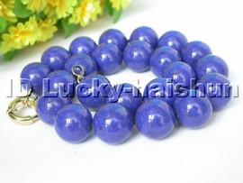 "nature 18"" 14mm round lapis lazuli bead necklace j4641"