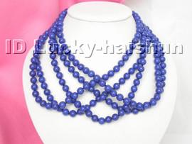 """wholesale 17"""" 6mm 5piece natural round lapis lazuli necklace j4433"""