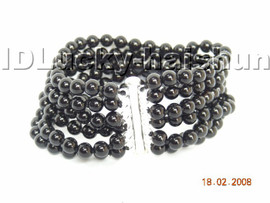 AAA 100% nature 6row round black Agate bracelet 925sc clasp j4321