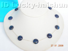 14K Gold Chain With natural coin lapis lazuli necklace j4277