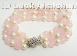 Genuine 3row round white FW pearl pikn jade bracelet 9K j4178