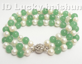 Genuine 3row round white FW pearl green jade bracelet j4177