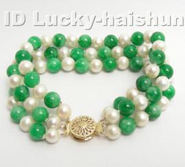 Genuine 3row round white FW pearl green jade bracelet 9K j4176