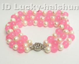 Genuine 3row round white FW pearl pink jade bracelet 9K j4172