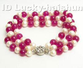 Genuine 3row round white FW pearl red jade bracelet j4171