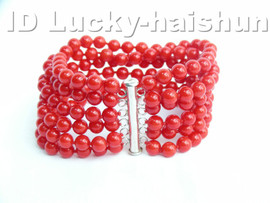 AAA 6row 100% natural round red coral bracelet 925sc clasp j4118