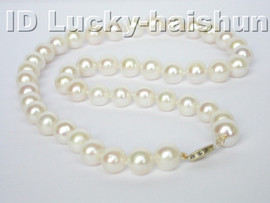 lustrous AAA 10mm round white freshwater pearl necklace 14K clasp j3939