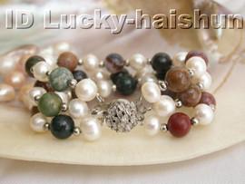 "Genuine 8"" 3row white round freshwater pearl jade bracelet j3848"