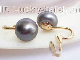 AAA 11mm round black freshwater pearls clip earrings 14Kj3243