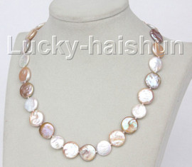 """luster 17"""" 15mm coin fastener Multicolor pearls necklace j10343"""