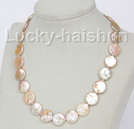 """luster 17"""" 15mm coin fastener pink freshwater pearls necklace j10344"""
