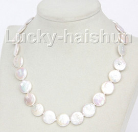 """luster 17"""" 15mm coin fastener white freshwater pearls necklace j10345"""
