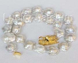 18mmX19mm Baroque white Reborn Keshi pearls necklace dragon clasp j10399