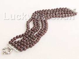 "natural 8"" 5row 6mm round red garnet bracelet j10441"