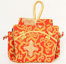 popular oriental style red Chinese silk handbag bag purses T801A26