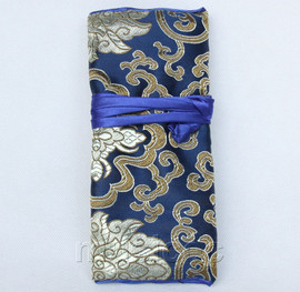 handmade silk navy blue colors Jewelry bags pouches roll T788A11