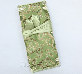 handmade silk green colors Jewelry bags pouches roll T786A11
